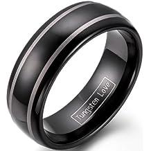 JewelryWe Gioielli moda 8 millimetri modello classico signore Dome laserato nero dell'anello del tungsteno matrimonio meraviglioso - Oro Signore Dome