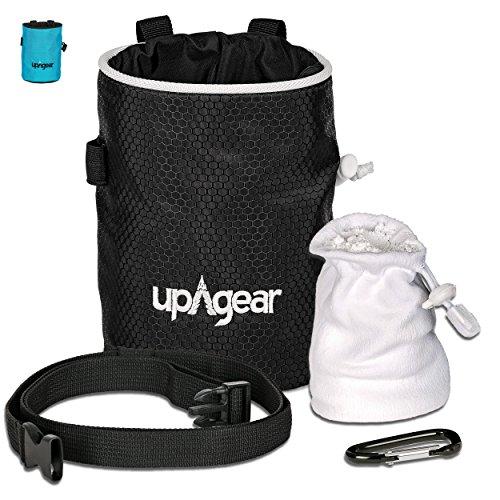 upAgear Chalk Bag | 4 in 1 Magnesiabeutel or Kreidebeutel-Set fürs Klettern, Bouldern oder Bergsteigen | DICHTES Design mit GROSSER TASCHE | Inklusive GRATIS Kreidekugel