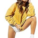 Hoodie Damen Sunnyadrain DesignReine Farbe locker Pullover Kapuzenpullover Sweatshirt Tops Lange Ärmel Outerwear Herbst Frauen-Damen