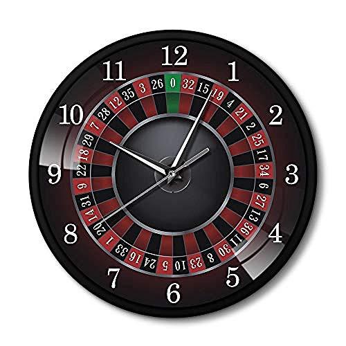 Reloj De Pared Ruleta De Póquer con Marco De Metal Negro Sala De Juegos Art Deco De Las Vegas Vea El Casino En Estilo Moderno Bueno para La Cocina Sala De Estar para La Cocina Familiar