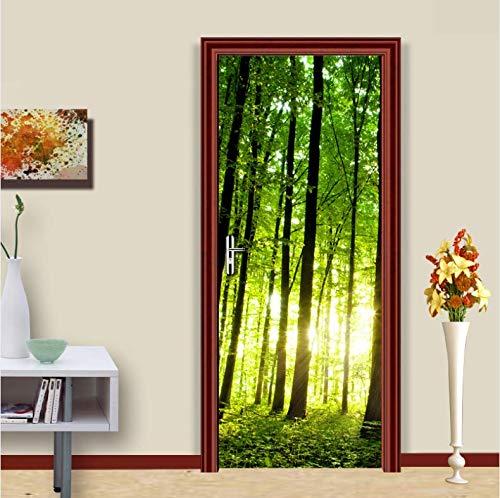 en Wald Baum 3D Foto Mural tapete Wohnzimmer renovierung DIY Selbstklebende tür Aufkleber PVC vinyltür tapetenbahn 77x200 cm ()