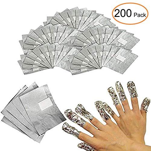 Nagel Lack-entferner (Vanyda Aluminium Folie Nagellackentferner Nail Polish Remover Gel Pads(200 Stück))
