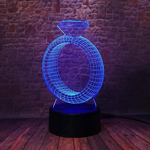 Neuheit Diamant Ring Kreative 7 Farbwechsel 3D Nachtlicht Stimmung Hochzeitstag Schlafzimmer Tisch Dekor Romantische Geschenke