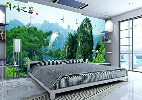 YUSDK Wallpaper Whole Seamless Wallpaper TV Background Wall Painting Wall Cloth Crane Dance Mountain Wallpaper Personalized Wallpaper, 350 * 256cm = 249 - Blue Mountain Wallpaper