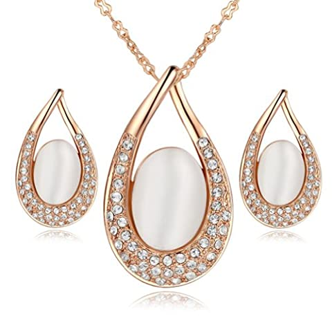 Yoursfs Lovely Opal Jewellery Sets 18ct Rose Gold Plated Gorgeous Sparkly Hollow Out Tear-drop Pendant Necklace and Earrings Set