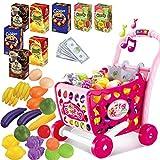 Carrello Supermercato Con Frutta e Verdura Piu di 30 Accessori Inclusi Giocattolo Per Bambine,Rosa