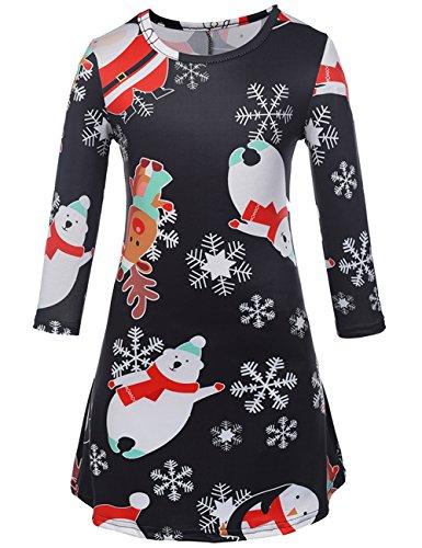 Damen Mädchen Weihnachten Schneemann Schneeflocke Ren Flared und Fit Swing Kleid (Weihnachten Passt)