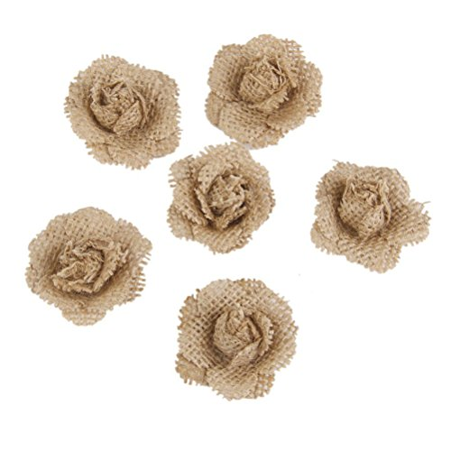 VORCOOL 6 Stück Rosenköpfe Stoffrosen Kunstblumen Kunstrose Streudeko (Braun) (Braune Sackleinen Blumen)