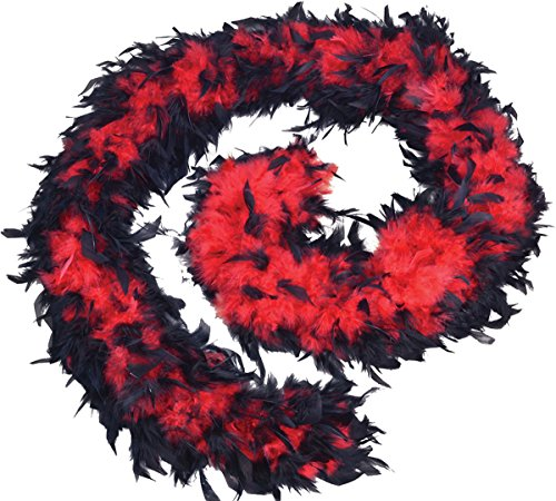 Ausgefallen Party Kostüm Zubehör Burleske Tanz Junggesellinnenabschied Marabu Federboa 80g - Rot/schwarz, Einheitsgröße