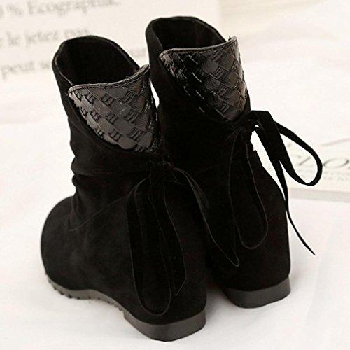 Longra Donne Maglia in pizzo-up gregge materiale superiore scarponi invernali scarponi scarponi corti Nero