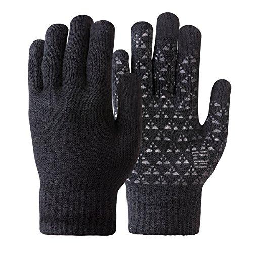 Damen Winter Handschuh Touchscreen - Fäustlinge Damen Fahrradhandschuhe Warme Rutschfest Strick Handschuh Rutschfest für Frau (Schwarz, M)