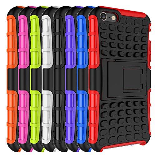 Qiaogle Téléphone Coque - Shock Proof TPU + PC Hybrid Stents Housse Case pour Apple iPhone 5 / 5G / 5S / 5SE (4.0 Pouce) - HH01 / Rouge HH07 / Rose