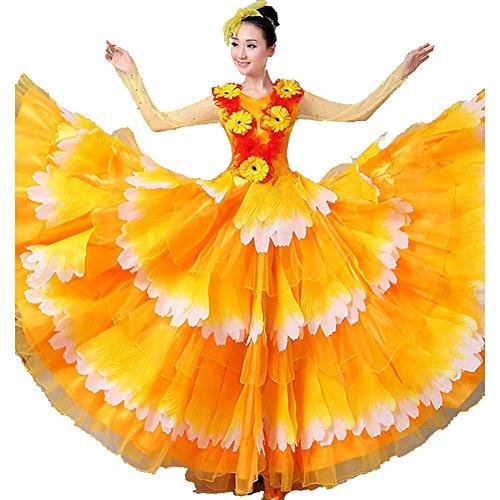 Byjia Erwachsene Frauen Flamenco Kleid 180 360 540 720 Degreen Blütenblätter Rock Performance Kostüme Eröffnungs Tanz Blühende Blüte Big Swing Chorus Yellow Skirt 720 (Girl Kostüm Chorus)