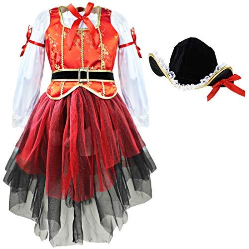 YiZYiF 4tlg. Sets Outfit Mädchen Piratenkostüm Piraten Kleid Kinder Kostüm für Karneval Halloween Fasching Kostüm Cosplay Verkleidung Schwarz, Rot, Weiß 110-116