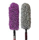 Love Life Auto-Staub-Kollektor-Mikrofaser-Mehrzweckauto-Wäscher-Reinigungs-Bürsten-Haushalts-Staub-Abbau, Sauberes Auto-Wäsche-2 Grau + Purple Stretchable Handle
