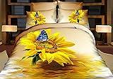 Baumwolle Schmetterling Sonnenblumen 3D-Betten Gefüllte/Queen King Size für Kinder Erwachsene Boho Steppdecke Set Bettwäsche Kissenbezug eingestellt