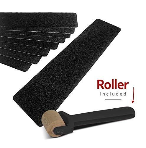Adesivi antiscivolo per scalini, per uso interno ed esterno - 5 x strisce adesive antiscivolo pretagliate con grana industriale 80, per prevenire rischi di caduta - Nero