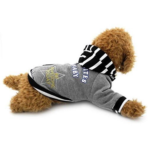 selmai Kleine Hunde Hoodies gestreift Fleece gefüttert Pet Sport Sweatshirt Shirt Pullover Jacke Kapuzen Jacke Hooded Winter Kleidung Outfits Apparel für Welpen Katze Hund Chihuahua