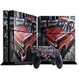 Retro-Auto, Designfolie Sticker Skin Aufkleber Schutzfolie mit Farbenfrohem Design für Playstation 4 CUH 1000 1100