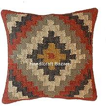 handicraft Bazar Kilim Funda de cojín, Tejido a Mano, cojín de Yute, Funda