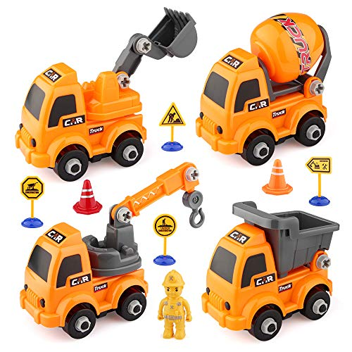 Baztoy Montage Spielzeug Auto Baufahrzeuge Set Kinder Spielzeug Junge Mädchen LKW Spielzeugauto 4 DIY Pädagogisches Lastwagen Spiele BAU Bildung Spiel Lernen Geschenk für Kleinkinder Indoor Outdoor