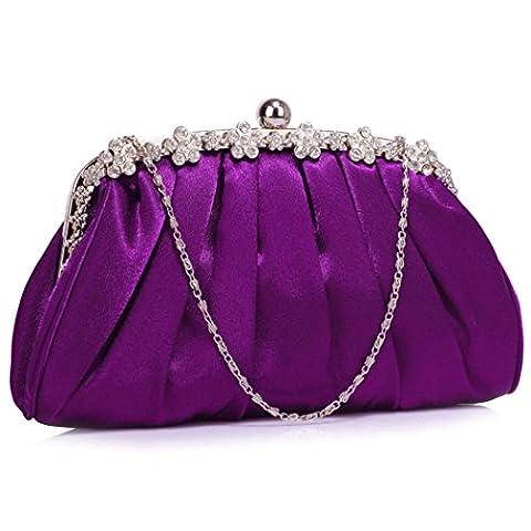 LeahWard Womens Satin Clutch Bag Ladies Wedding Bridal Evening Bags Purses Handbags CW98 (Medium Purple