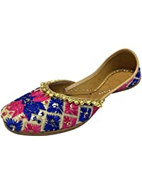 N Étape Jutti Style Traditionnel Punjabi Chaussures Indien Rajasthani Kolhapuri Khussa, Rouge, Taille 41