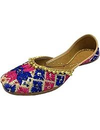 Step n Style trabajo Flat Sandal étnico Crystal Mujer Zapatos de Khussa Punjabi jutti Ballet, - multicolor, 40