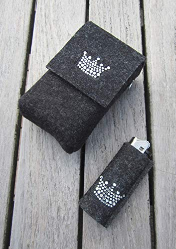 zigbaxx Set Zigarettenetui mit Feuerzeughülle LITTLE CROWN - für Pack 20 Zigaretten oder Big Box XL/XXL / 100% Woll-Filz Krone Strass/pink beige braun schwarz grau rot - Gechenk Weihnachten (Strass-feuerzeug-hülle)