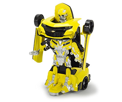 4-autos Transformers (Dickie Toys 203113016 - Transformers Movie 5 Robot Fighter Bumblebee, verwandelbare Actionfigur, Roboter mit Licht und Sound, 24cm)