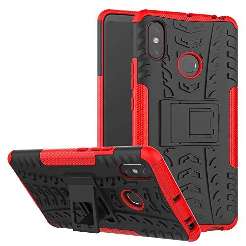 LAGUI Funda Adecuado para Xiaomi Mi MAX 3, Carcasa Viene con Pestaña de Apoyo, Robusta Caja Híbrida TPU/PC de Doble Capa, Resistencia a Las Caídas Golpes y Arañazos. Rojo
