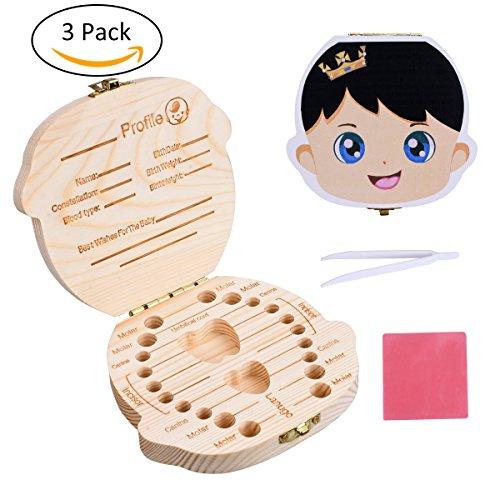 LegendTech Holz Milchzähne Box - Baby Zähne Milchzähne Box Geschenk für Kinder - Souvenir Zahnschoner Box - Zahndose Milchzahndose Zahndöschen (3 Stück) (Obere Molaren)
