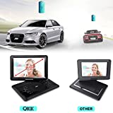 """QKK 14.1"""" Portable DVD Player, 5000mAh 6 Hours Battery Life, 1.8M Charging Cable, 270°Rotatable HD Display, Supports USB and SD Card, Data Replication to USB Stick, with 2 Headphones."""