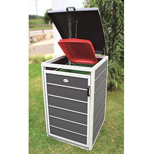 Prewood WPC Mülltonnenbox, Mülltonnenverkleidung für 1x 120l Mülltonne grau // 70x68x113 cm (LxBxH) // Gerätebox, Gartenbox & Mülltonneneinhausung - 3