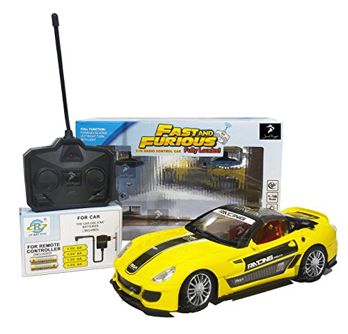 Royal Fast & Furious 1:16 Radio Control Car with 4*AA Batteries and Charger for Car (Yellow Close Top California)