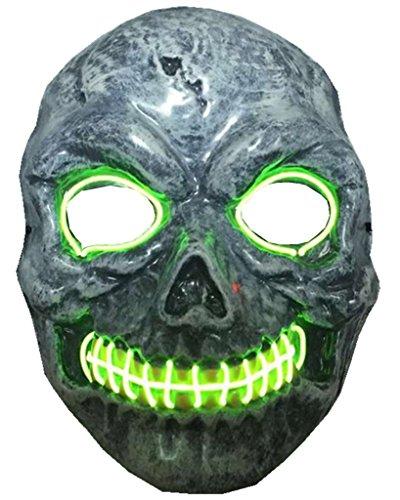 ERGEOB Herren Maske EL Licht Karneval Maske grün (Up Halloween Licht Kostüme Für)