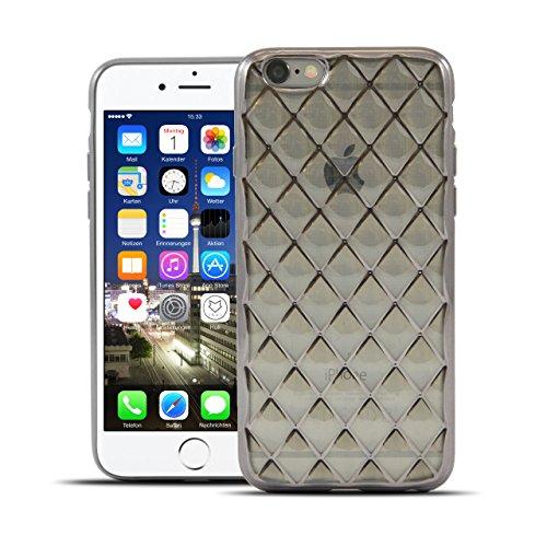 Prada 6 Iphone Case (HULI Diamond Case Hülle Graphit für Apple iPhone 6/6s Smartphone - Diamant Handyhülle aus TPU Silikon - silber Luxus Schutzhülle - sicherer Schutz Wabe Kaleidoskop)