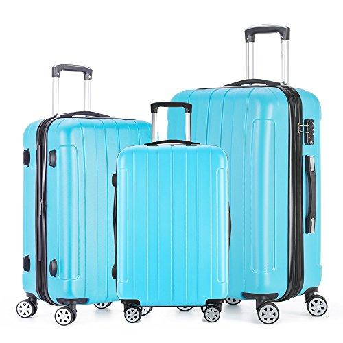 Fochier 3 Pieces ABS+PC Harte Schale Reise Trolley Fällen Koffer Gepäck 8 Leichte Kreisel Räder (Camouflage, 20'+24'+28')