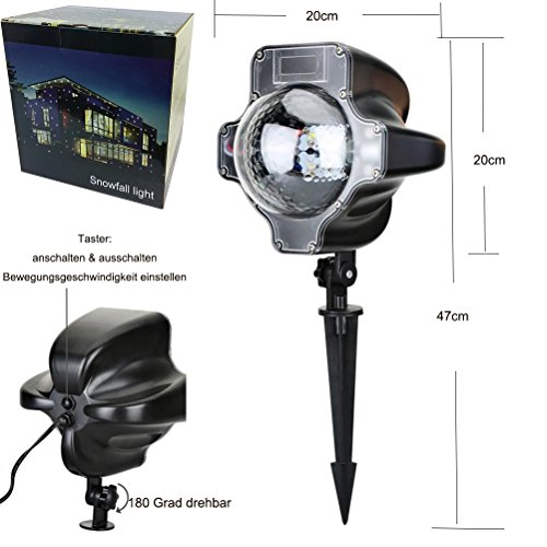 SMITHROAD LED Projektionslampe mit Fernbedienung Bewegliche Punkte Schneefall-Lichteffekt – Halloween – Karneval – Weihnachten Innen & Außen - 5