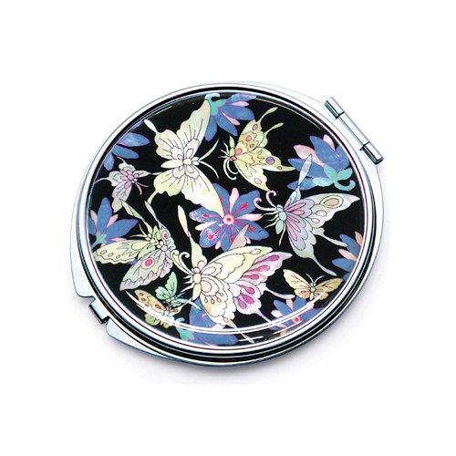 incrustation en nacre bleu Motif papillon Comestic Unique Poche Maquillage Compact double miroir (L)