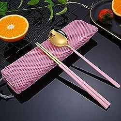 Juego de cubiertos palillos cuchara acero inoxidable cocina china viajes de camping senderismo al aire libre, en polvo/oro + caja de almacenamiento rosa
