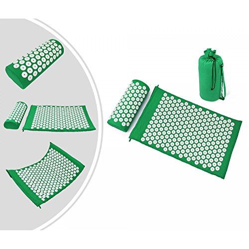 Leogreen - Akupressurmatte und Kissen-Set, Massage-Set für Zuhause, Grün, mit Tasche und Kissen, Standard/Zertifizierung: ROHS