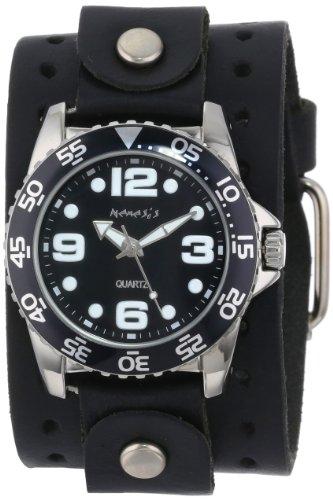 Nemesis JB097K - Reloj de pulsera hombre, piel, color Negro