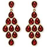 Birthstone Chandelier Earrings in Yellow Gold Tone - January - Simulated Garnet