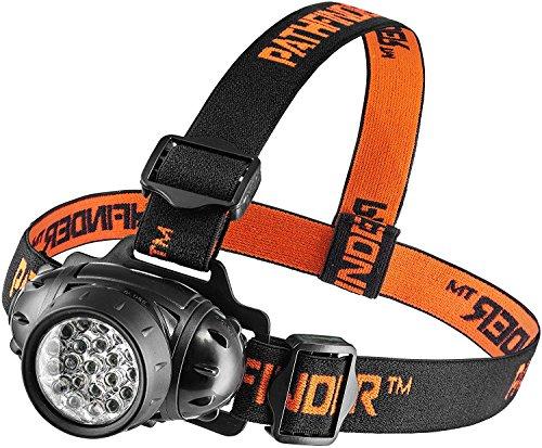 PATHFINDER 21 LEDs Phare - résistant à l'eau. 4 modes de fonctionnement, de sécurité principale, lampe, Flash Light, la flamme pour le cyclisme, escalade, VTT, camping, la lecture de nuit. Réglable Angle de faisceau. 100 000 heures de durée de vie LED (en RETAIL PACKAGING) (Noir)