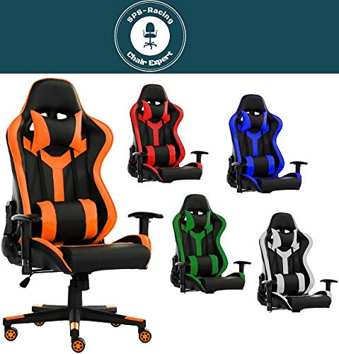 SPS-Racing King Bürostuhl Chefsessel Drehstuhl Schreibtischstuhl Gaming Zocker Stuhl Office Chair (schwarz/orange)