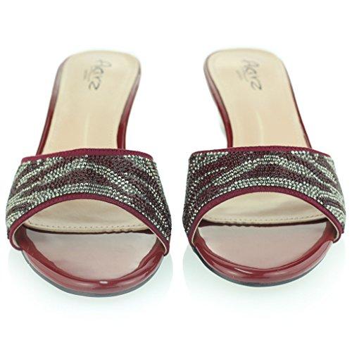 Frau Damen Funklen Schlüpfen Diamant Mittel Blockabsatz Abend Party Abschlussball Sandalen Schuhe Größe Rot