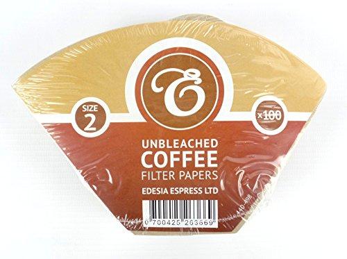 EDESIA ESPRESS - 100 filtri caffè americano in carta non sbiancata - forma a cono - misura 2