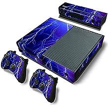 Xbox One Protective Vinly Skin Sticker Consola Decal Pegatinas + 2 Controlador & Kinect Skins Set (Violet Lightning)