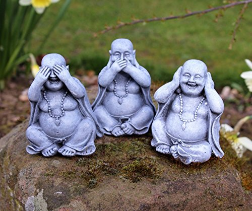 Home Hut® 3 pequeñas Wise HapPYGARDEN BUDDHA ORNAMENTOS DECOR, HEAR NO, SEE NO, SPEAK NO EVIL